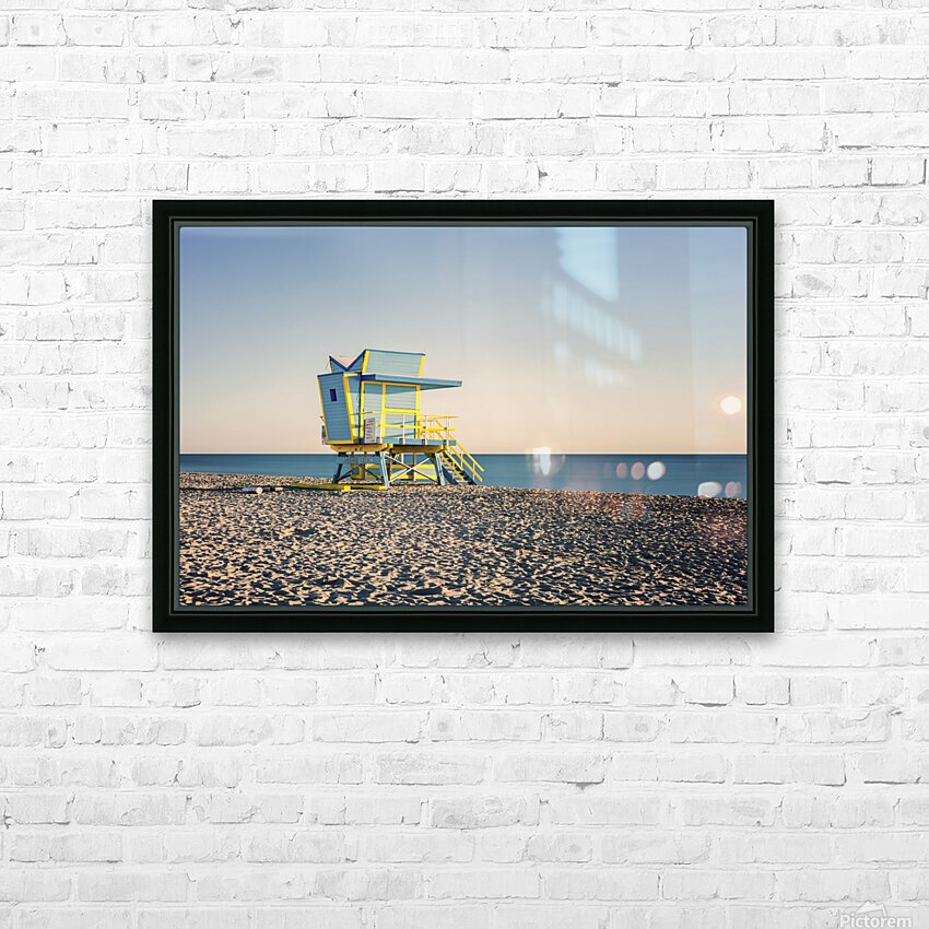 Miami Beach 075 HD Sublimation Metal print with Decorating Float Frame (BOX)