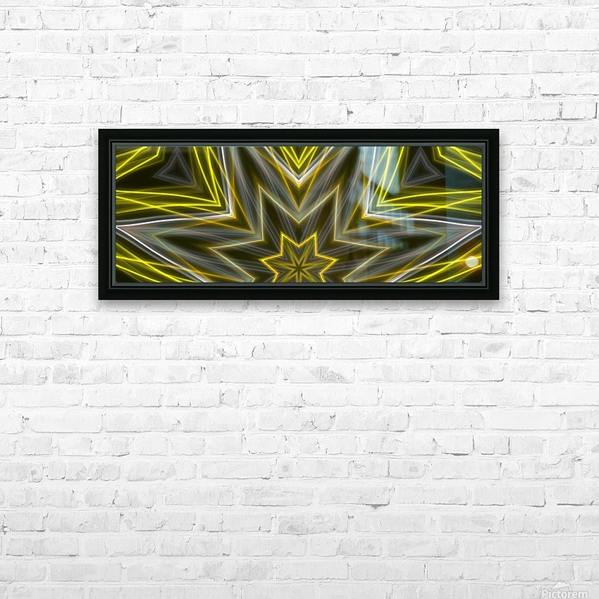 Yellow Neon Lights  HD Sublimation Metal print with Decorating Float Frame (BOX)