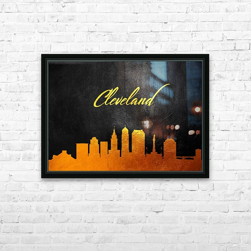 Cleveland Ohio Skyline Wall Art HD Sublimation Metal print with Decorating Float Frame (BOX)