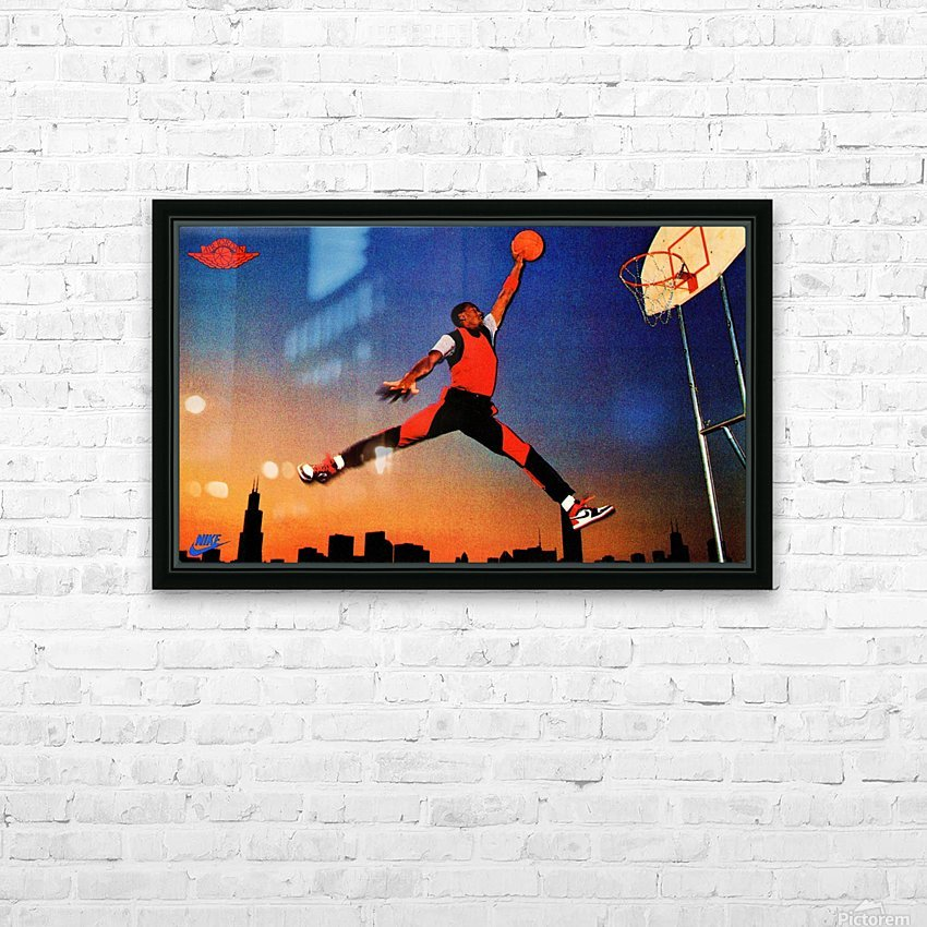 1985 Nike Promo Jordan Rookie Card Wall Art HD Sublimation Metal print with Decorating Float Frame (BOX)