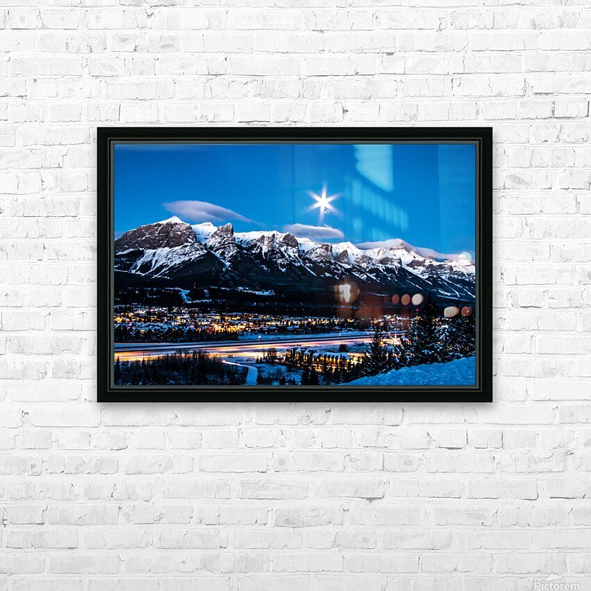 Canmore Morning Moon Over Rundle Mountain HD Sublimation Metal print with Decorating Float Frame (BOX)