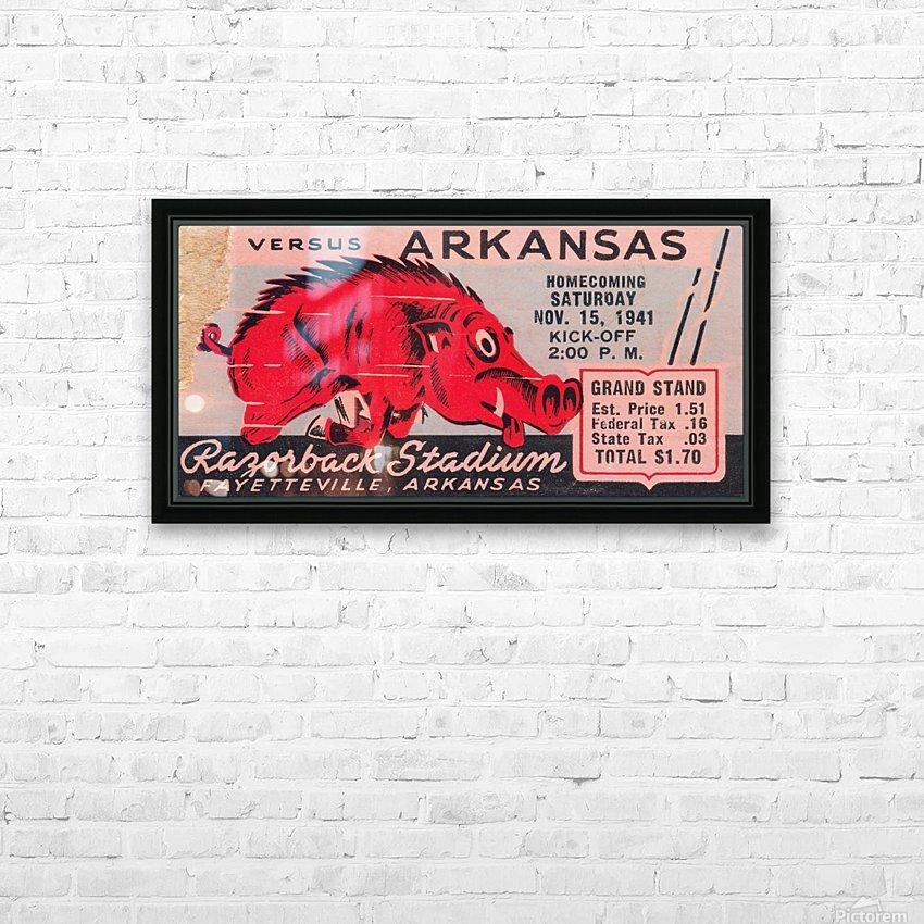 1941 Arkansas Razorbacks Ticket Stub Art HD Sublimation Metal print with Decorating Float Frame (BOX)