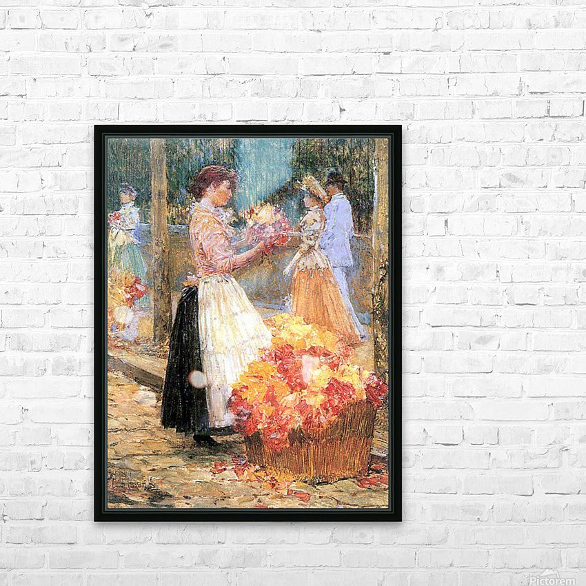 Woman sells flowers by Hassam HD Sublimation Metal print with Decorating Float Frame (BOX)
