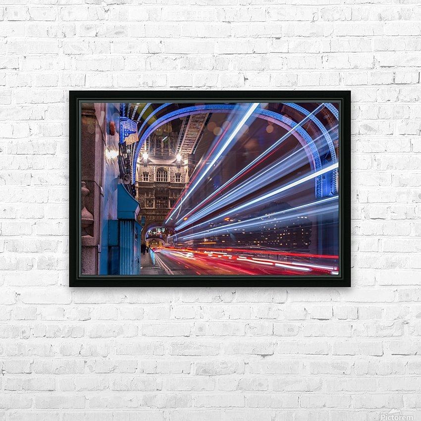 Light trails along Tower Bridge London HD Sublimation Metal print with Decorating Float Frame (BOX)