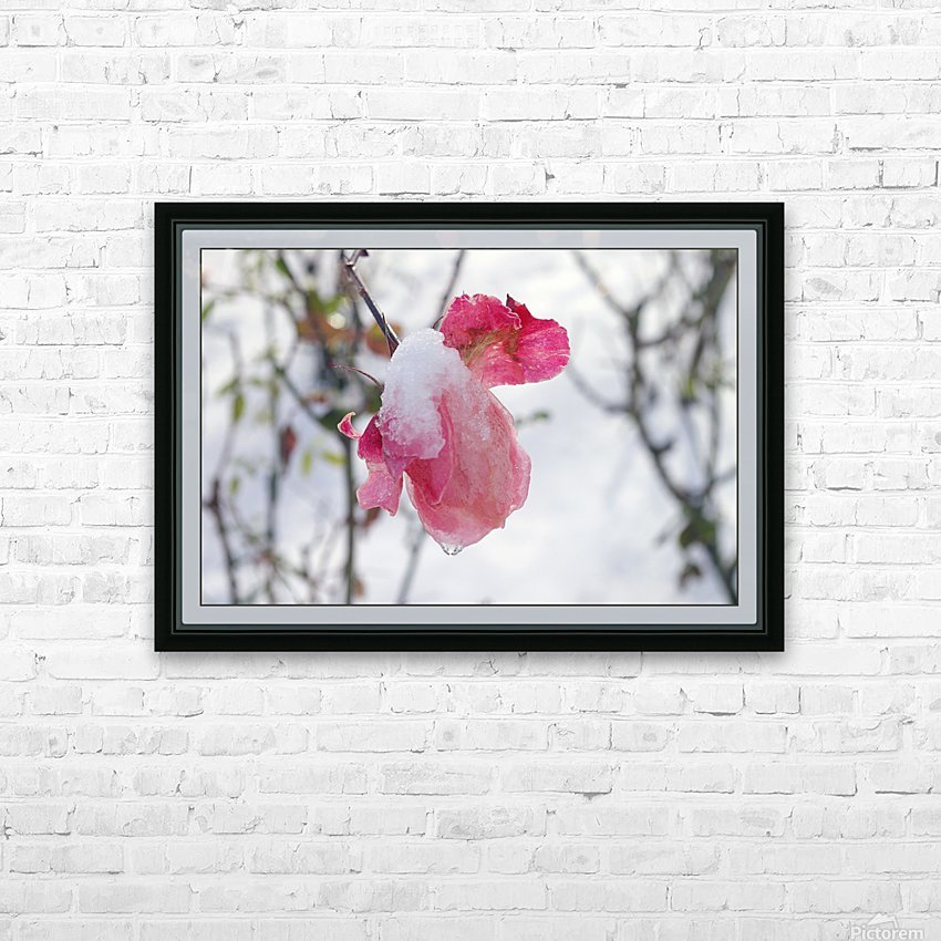 Roses in the snow HD Sublimation Metal print with Decorating Float Frame (BOX)