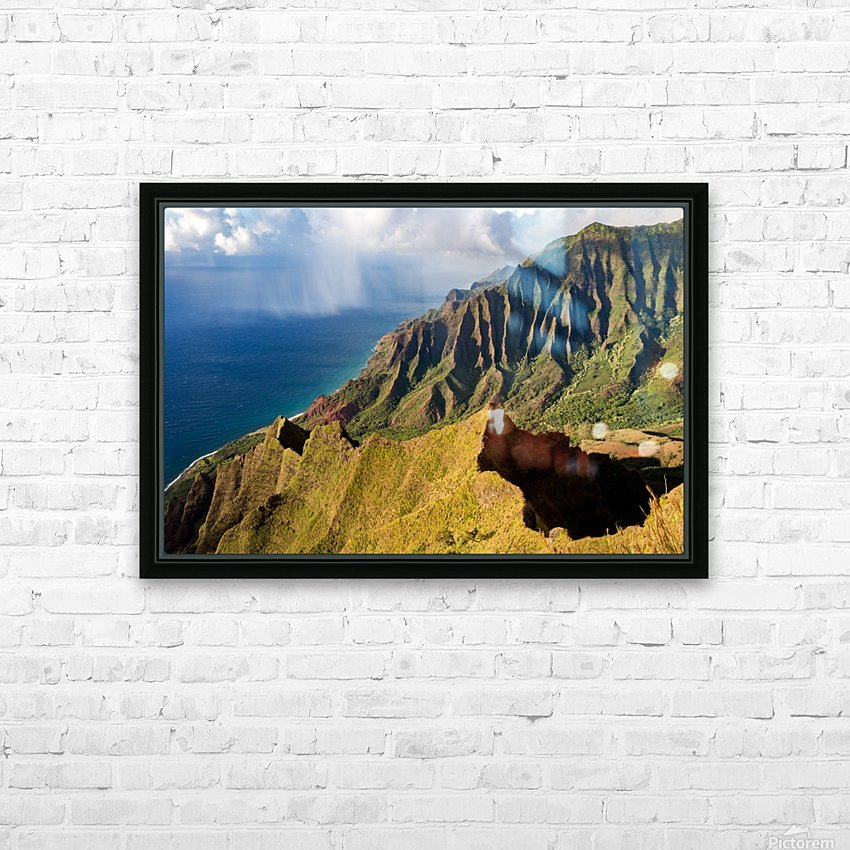 The Cliff Sides of Kauai HD Sublimation Metal print with Decorating Float Frame (BOX)