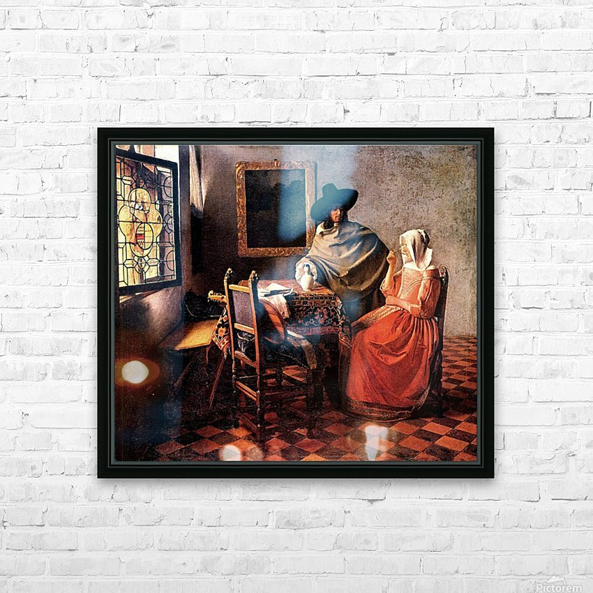 Glass of wine by Vermeer HD Sublimation Metal print with Decorating Float Frame (BOX)