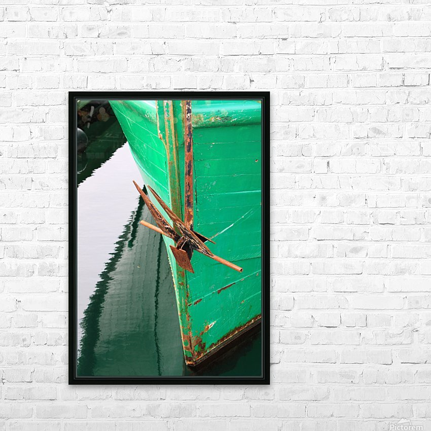 Green Fishing Boat and Anchor In Harbour HD Sublimation Metal print with Decorating Float Frame (BOX)