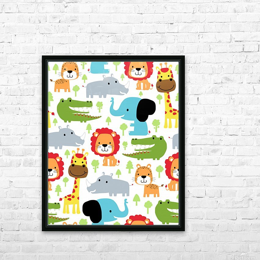 seamless pattern vector with animals cartoon HD Sublimation Metal print with Decorating Float Frame (BOX)