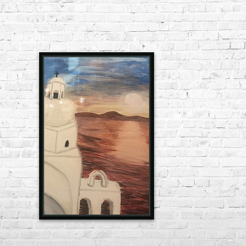 A Greek Island HD Sublimation Metal print with Decorating Float Frame (BOX)