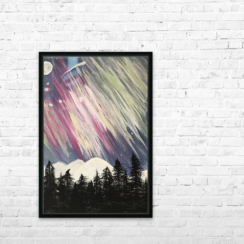 Aurora Borealis Above The Forest HD Sublimation Metal print with Decorating Float Frame (BOX)