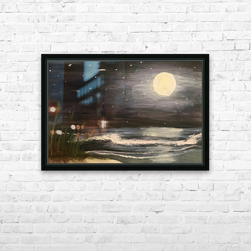 Moonlit Seascape HD Sublimation Metal print with Decorating Float Frame (BOX)