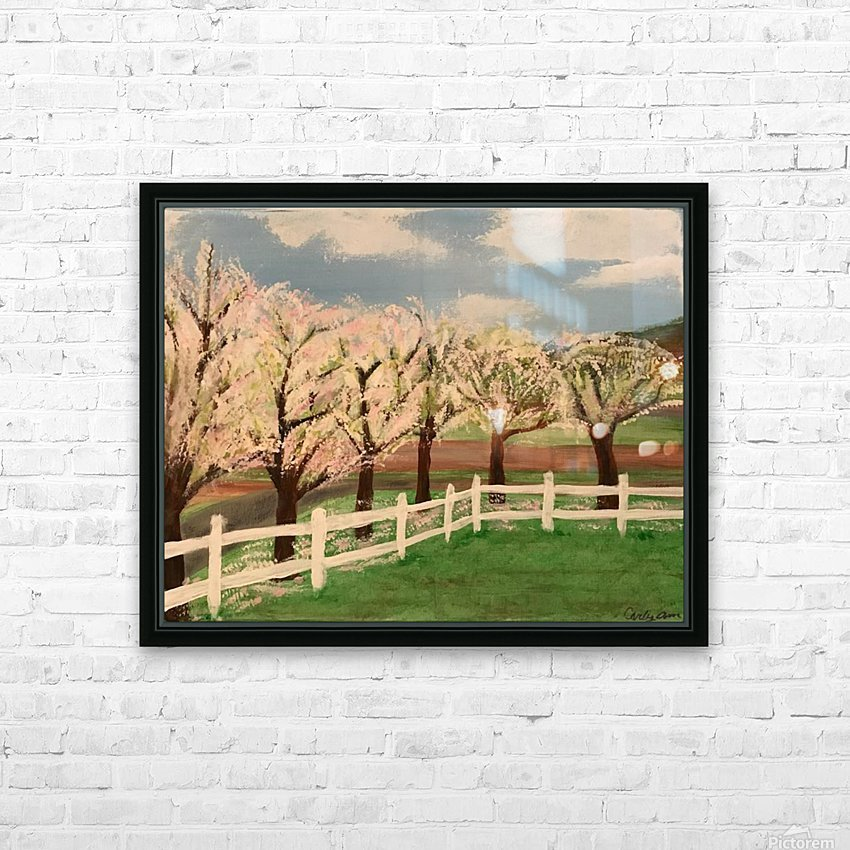 Trees In Bloom HD Sublimation Metal print with Decorating Float Frame (BOX)