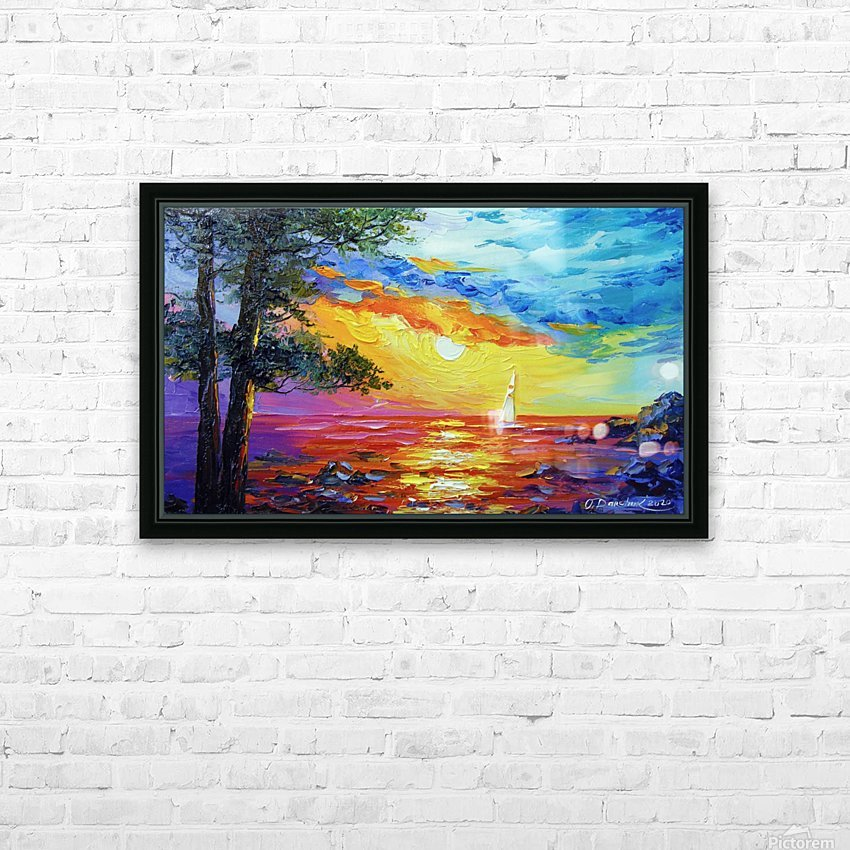 Sailboat at sunset  HD Sublimation Metal print with Decorating Float Frame (BOX)