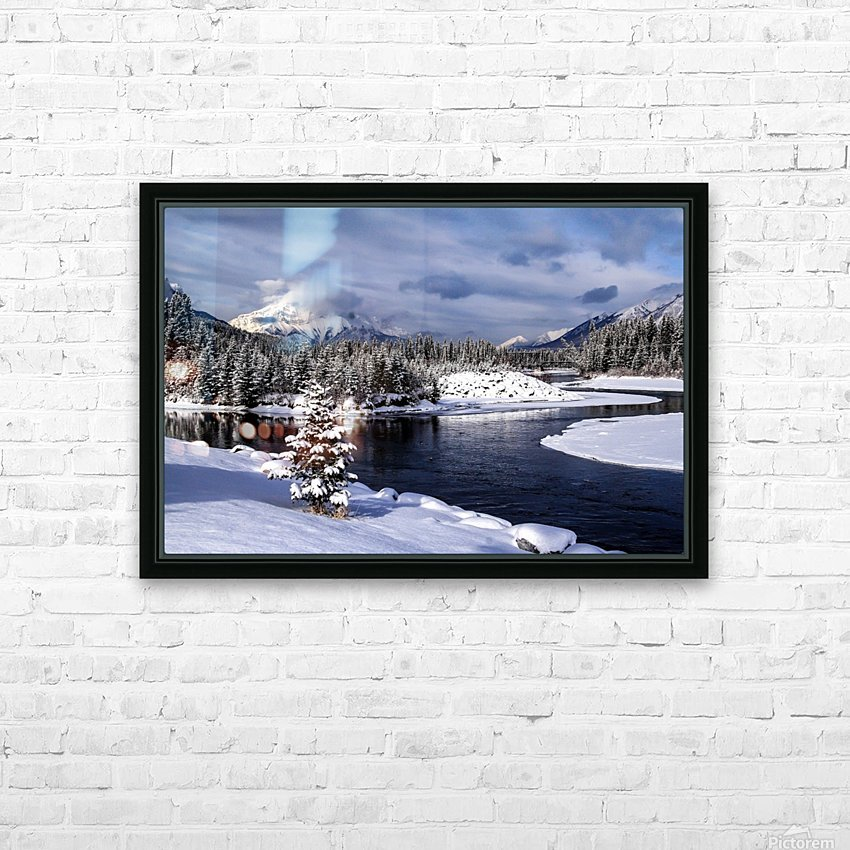 Snowy Bow River Canmore Alberta HD Sublimation Metal print with Decorating Float Frame (BOX)