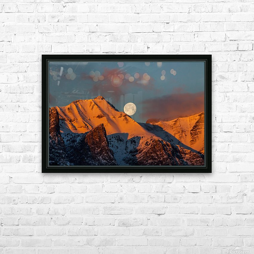 Super Moon Setting Behind Rundle Mountain HD Sublimation Metal print with Decorating Float Frame (BOX)