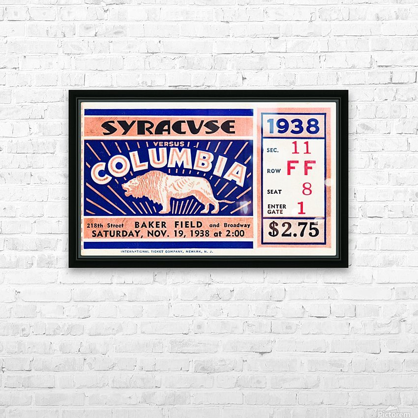 1938 Syracuse vs. Columbia HD Sublimation Metal print with Decorating Float Frame (BOX)