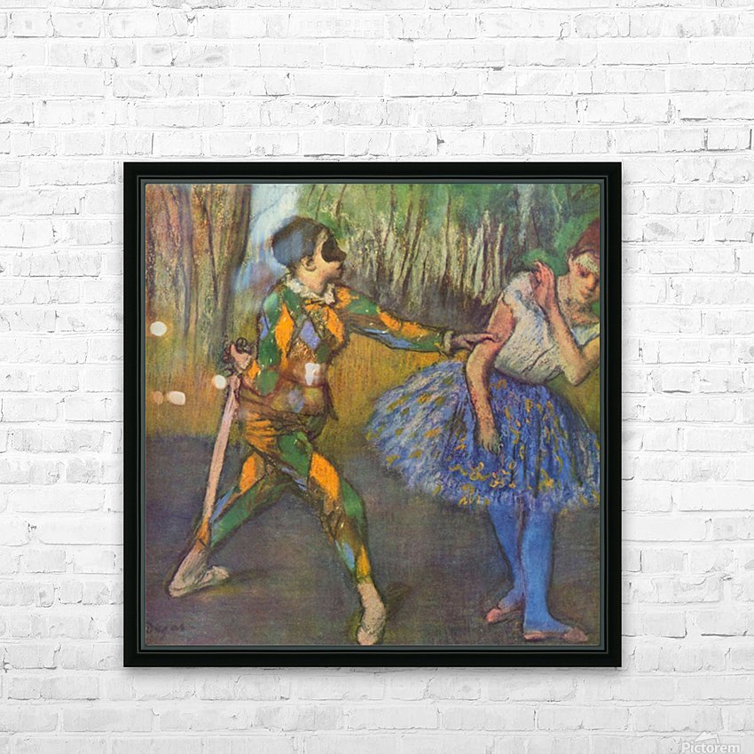Harlequin and Colombine by Degas HD Sublimation Metal print with Decorating Float Frame (BOX)
