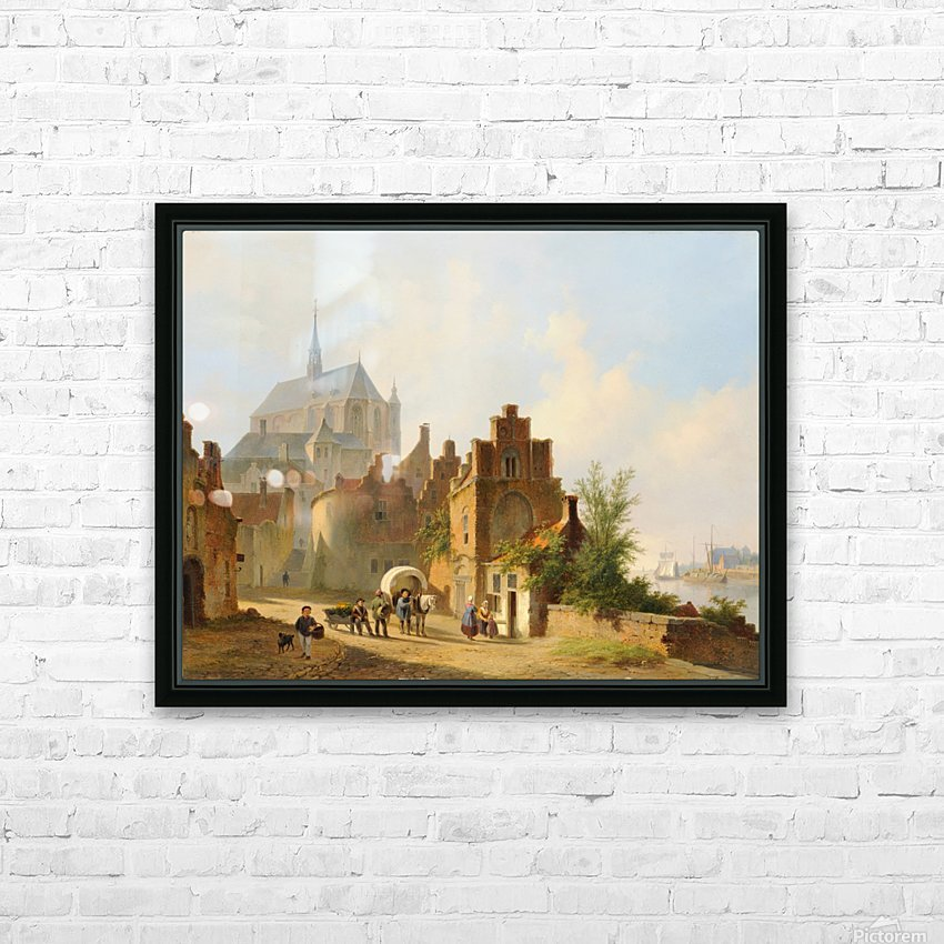 Continental Town Scene with Figures beside a Horse and Cart in a Sunlit Street HD Sublimation Metal print with Decorating Float Frame (BOX)