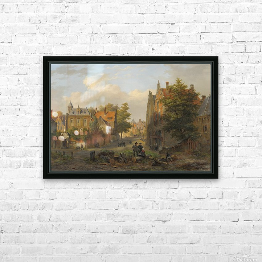 View of a town with figures in conversation HD Sublimation Metal print with Decorating Float Frame (BOX)