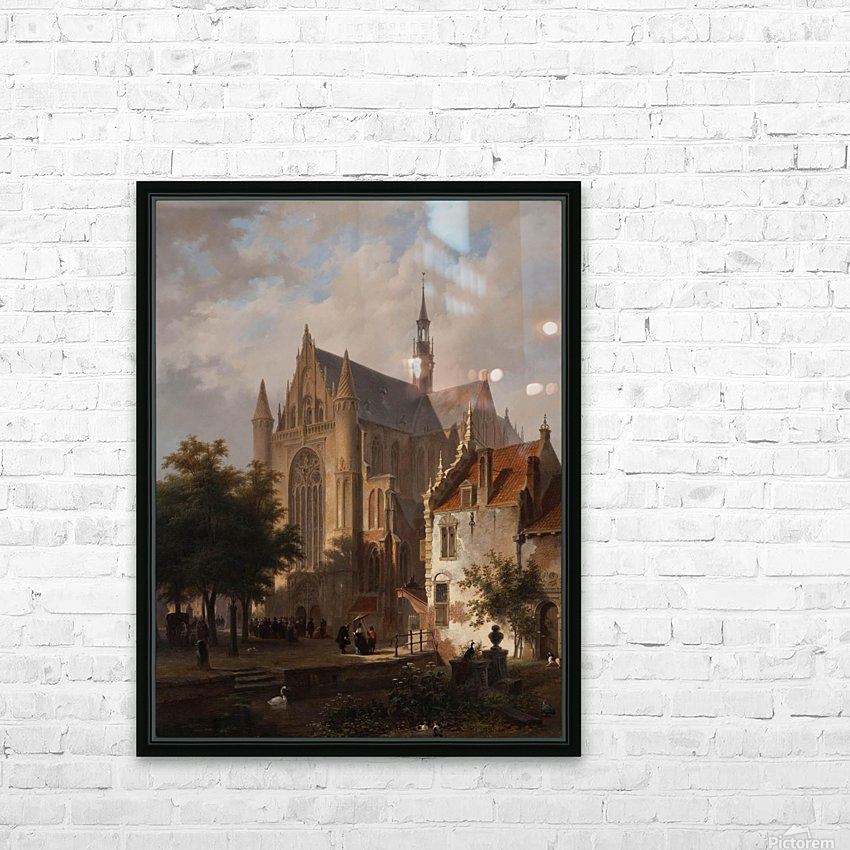Het uitgaan van de kerk in Leiden HD Sublimation Metal print with Decorating Float Frame (BOX)