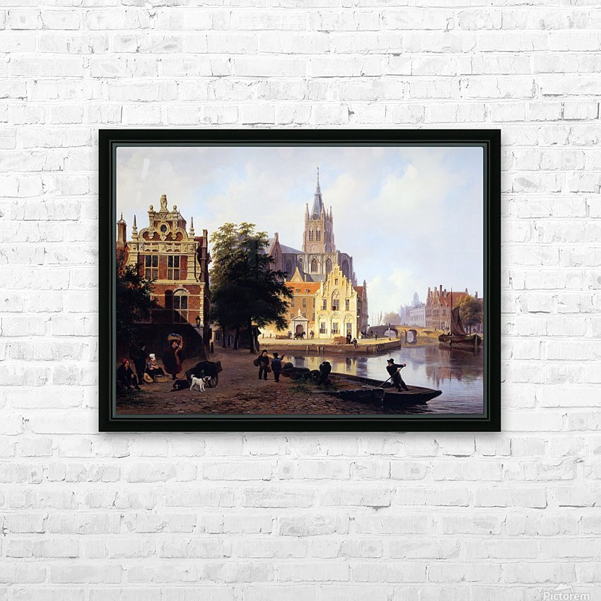 City view with canal Sun HD Sublimation Metal print with Decorating Float Frame (BOX)
