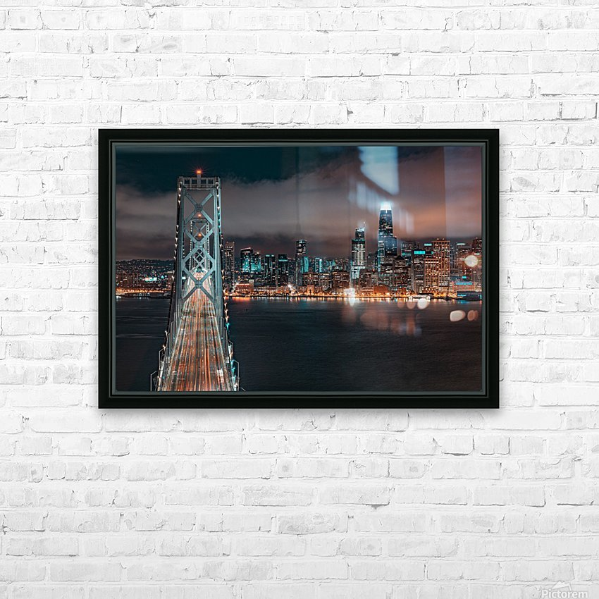 San Francisco Skyline at Night With The Bay Bridge HD Sublimation Metal print with Decorating Float Frame (BOX)