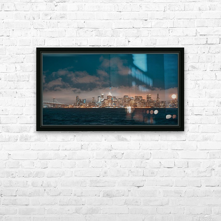 Cloudy San Francisco Night Skyline HD Sublimation Metal print with Decorating Float Frame (BOX)