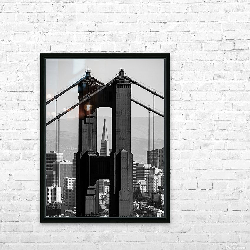 Threading the Needle - Golden Gate Bridge in Black and White HD Sublimation Metal print with Decorating Float Frame (BOX)