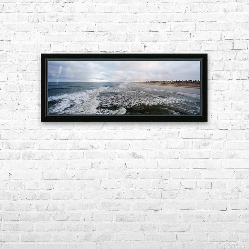 Huntington Beach Panorama HD Sublimation Metal print with Decorating Float Frame (BOX)