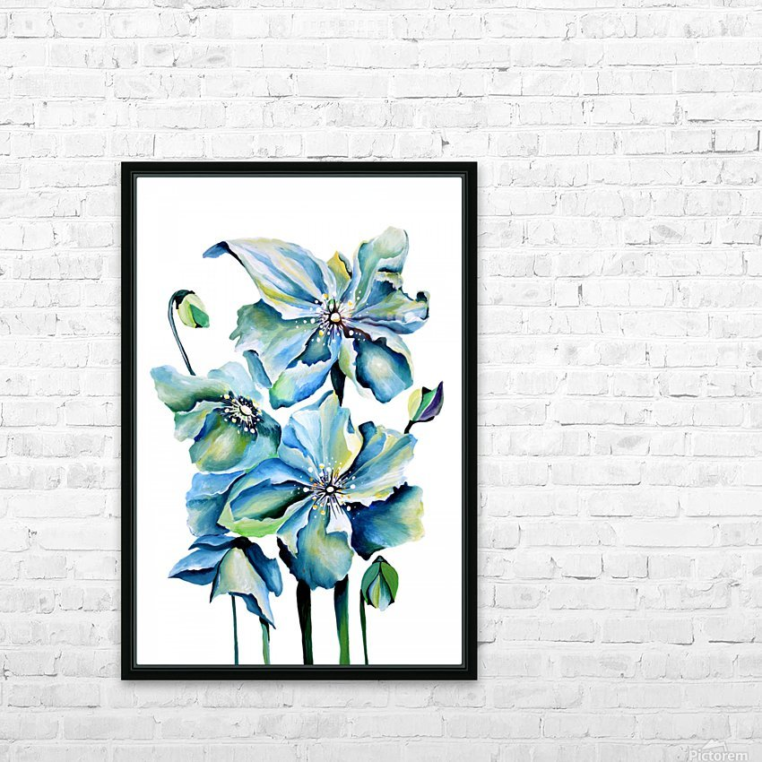 Blue Poppies Watercolor HD Sublimation Metal print with Decorating Float Frame (BOX)