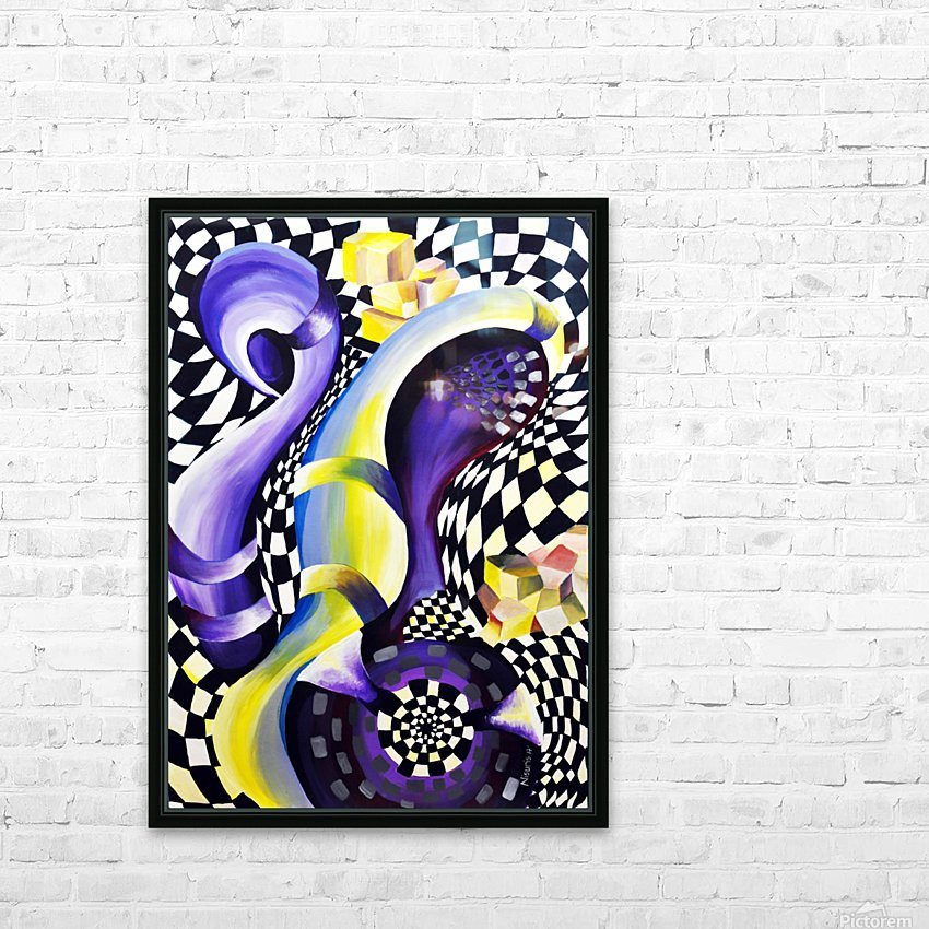 80s Geometric Abstract Watercolor HD Sublimation Metal print with Decorating Float Frame (BOX)