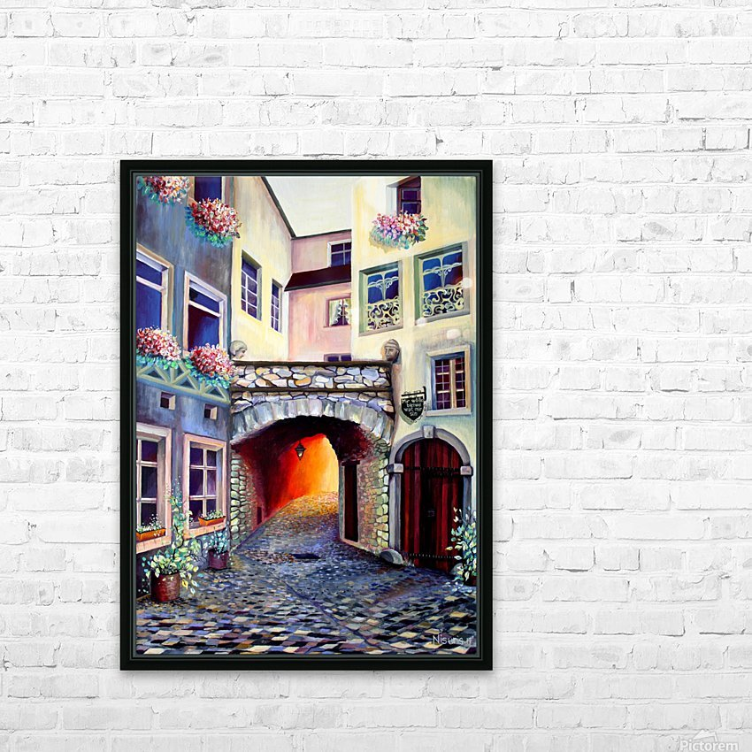 Brussels Cityscape Bohemian Painting HD Sublimation Metal print with Decorating Float Frame (BOX)