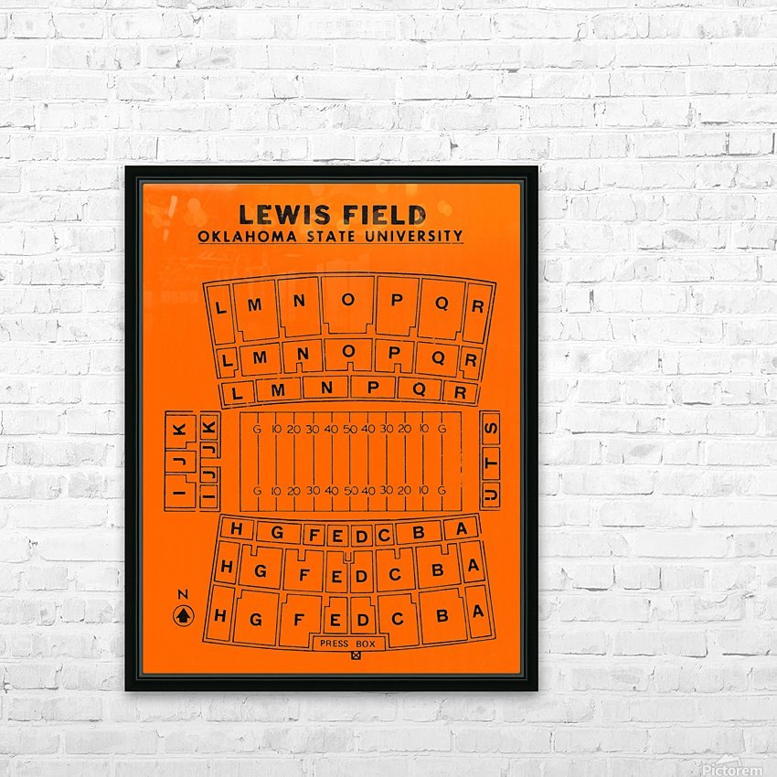 vintage college football stadium maps lewis field oklahoma state university osu cowboys HD Sublimation Metal print with Decorating Float Frame (BOX)