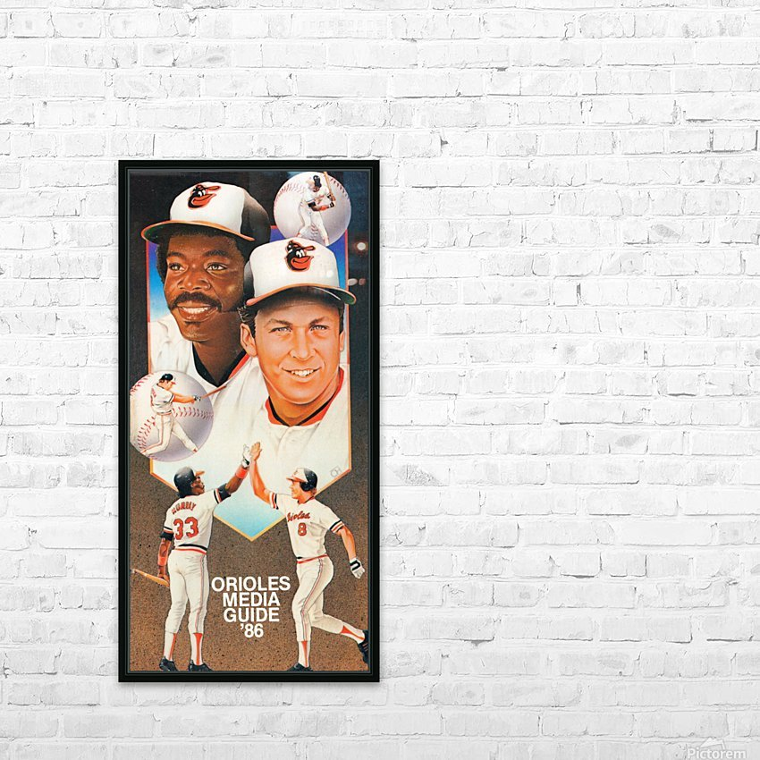 1986 Baltimore Orioles Media Guide Canvas HD sublimation métal imprimé avec décoration flotteur cadre (boîte)