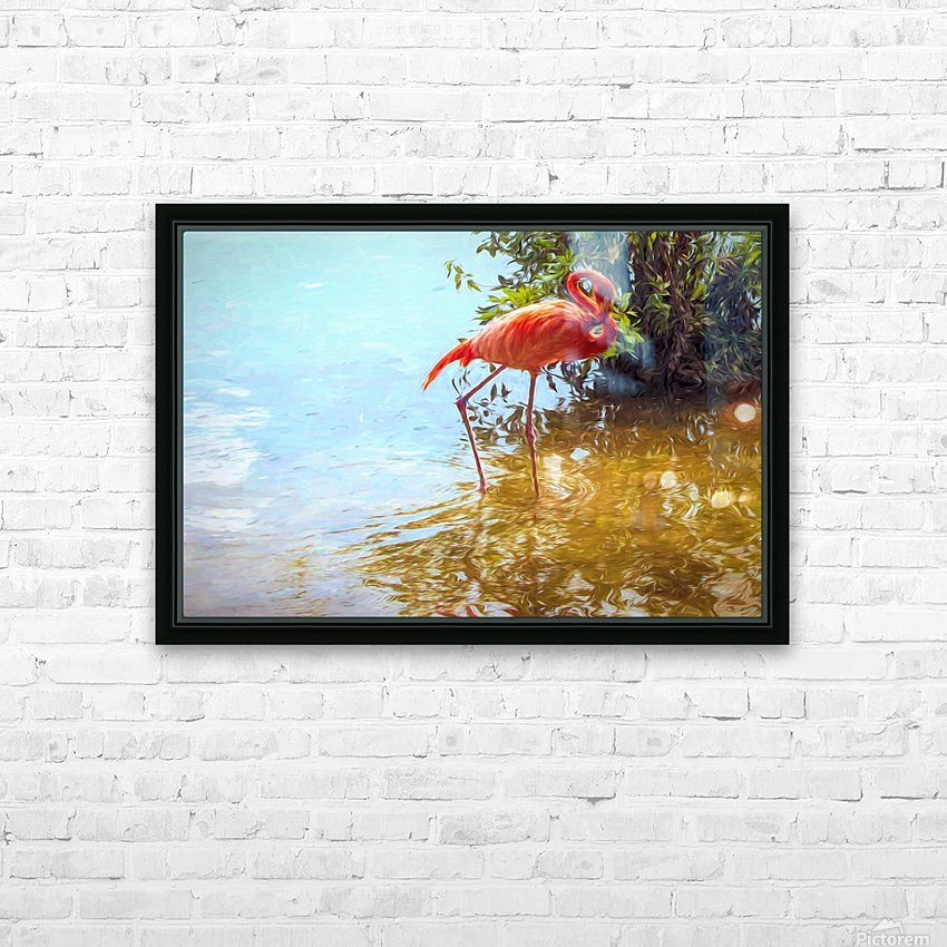 Pink Flamingo Wading In Water HD Sublimation Metal print with Decorating Float Frame (BOX)