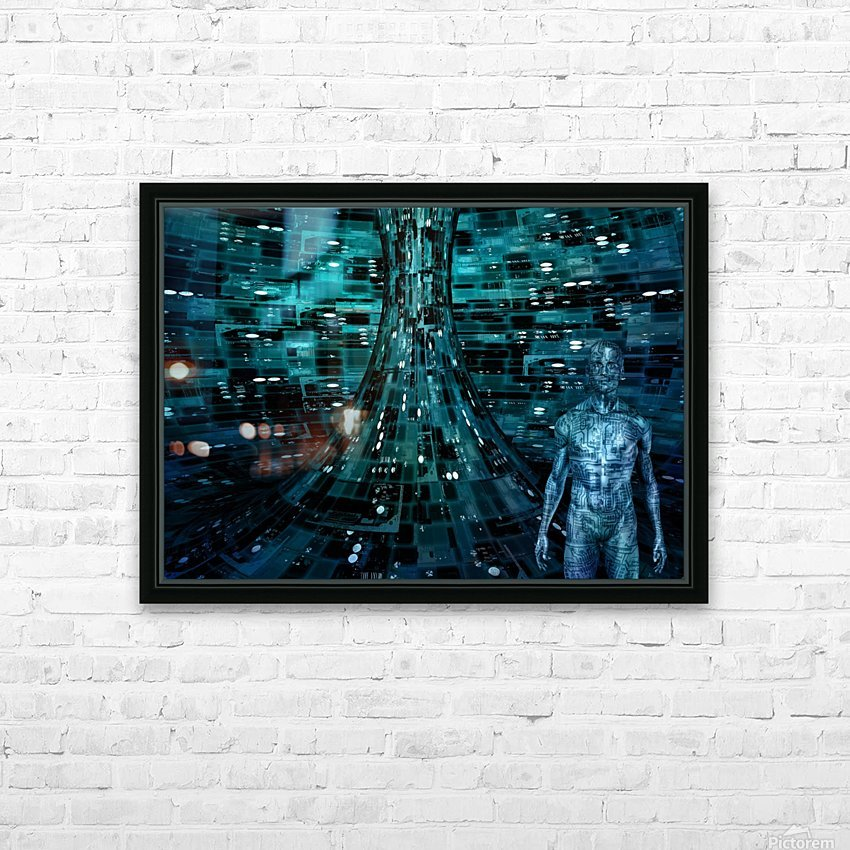Cyborg Man HD Sublimation Metal print with Decorating Float Frame (BOX)