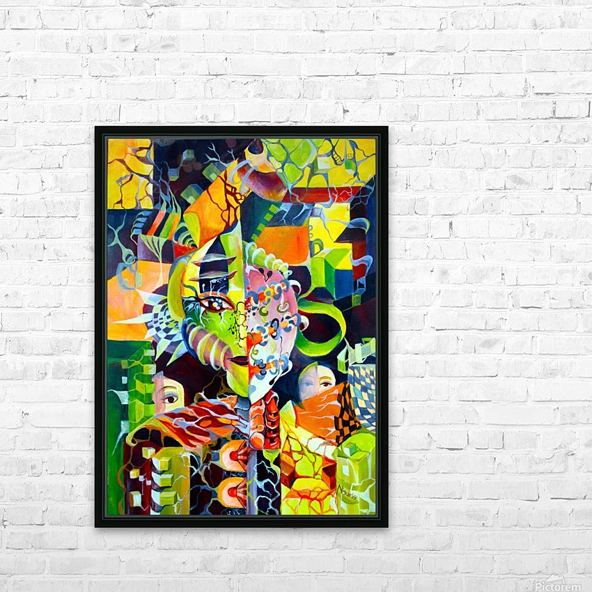 Pop Currealism Contemporary Vivid Utopia HD Sublimation Metal print with Decorating Float Frame (BOX)