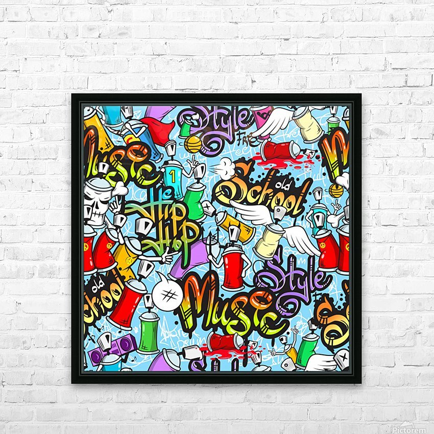 graffit characters seamless pattern HD Sublimation Metal print with Decorating Float Frame (BOX)