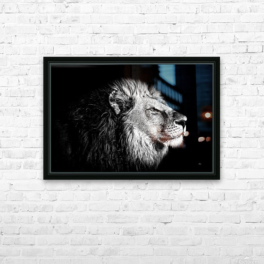 Lion with Attitude HD Sublimation Metal print with Decorating Float Frame (BOX)