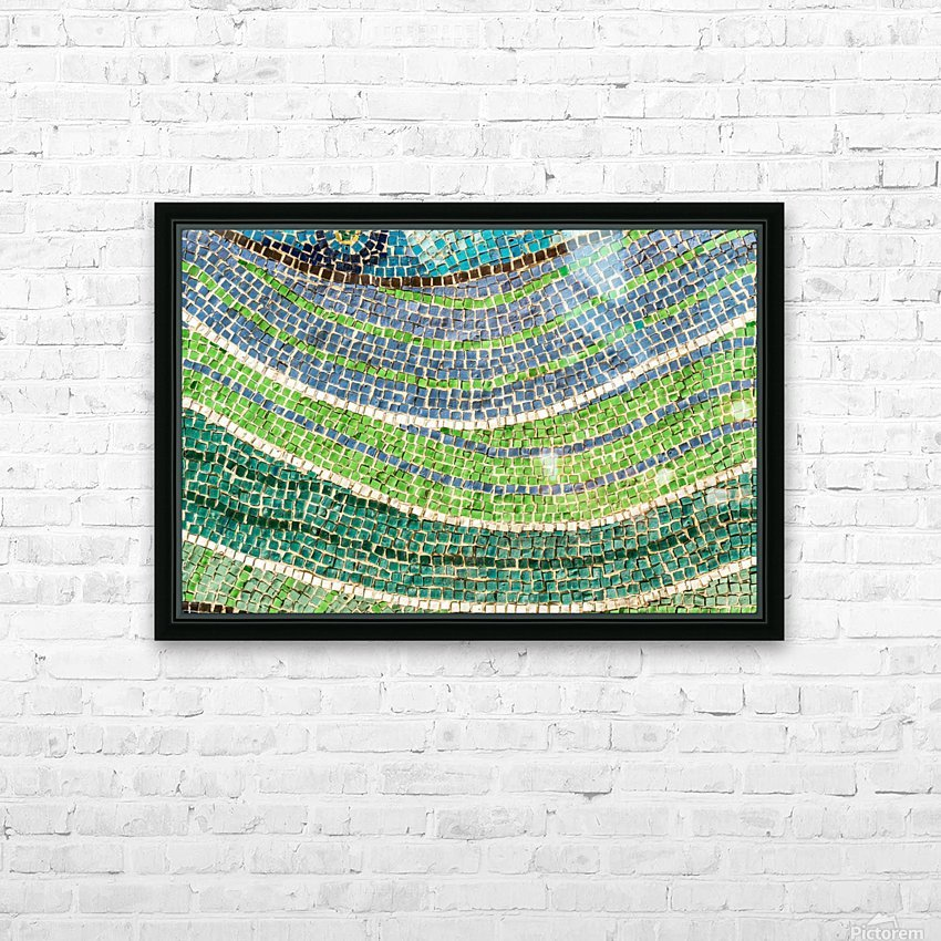 Tessellated Abstracts and Impressions - Free Form Meadows and Flowerbeds in Green and Blue HD Sublimation Metal print with Decorating Float Frame (BOX)