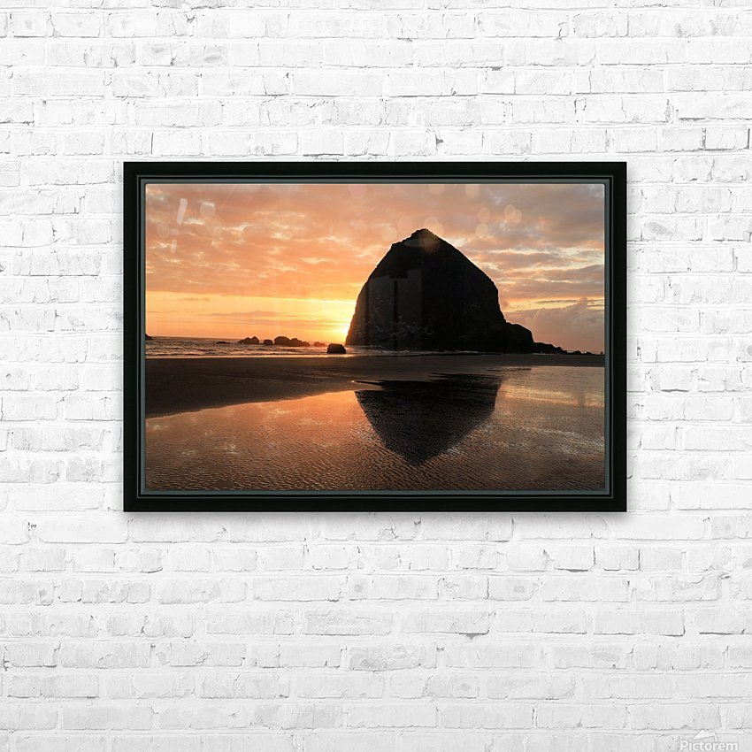 Haystack Rock at Sunset HD Sublimation Metal print with Decorating Float Frame (BOX)