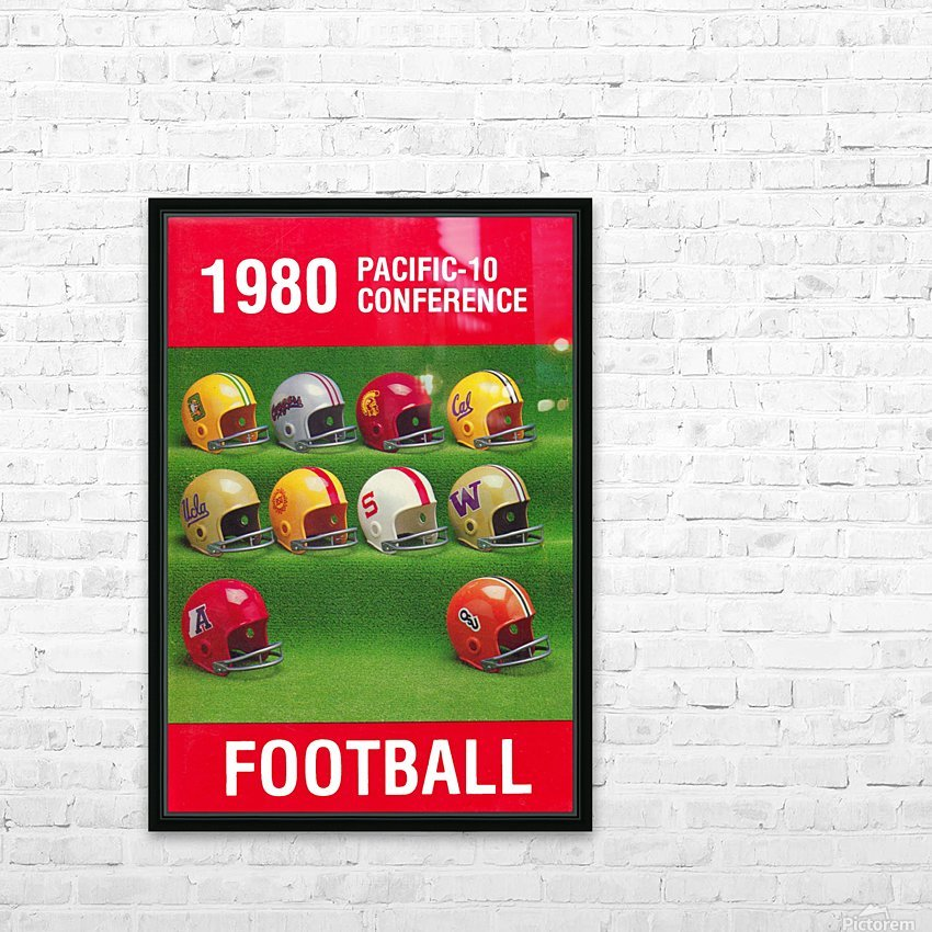 1980 Pac 10 Football Poster HD Sublimation Metal print with Decorating Float Frame (BOX)