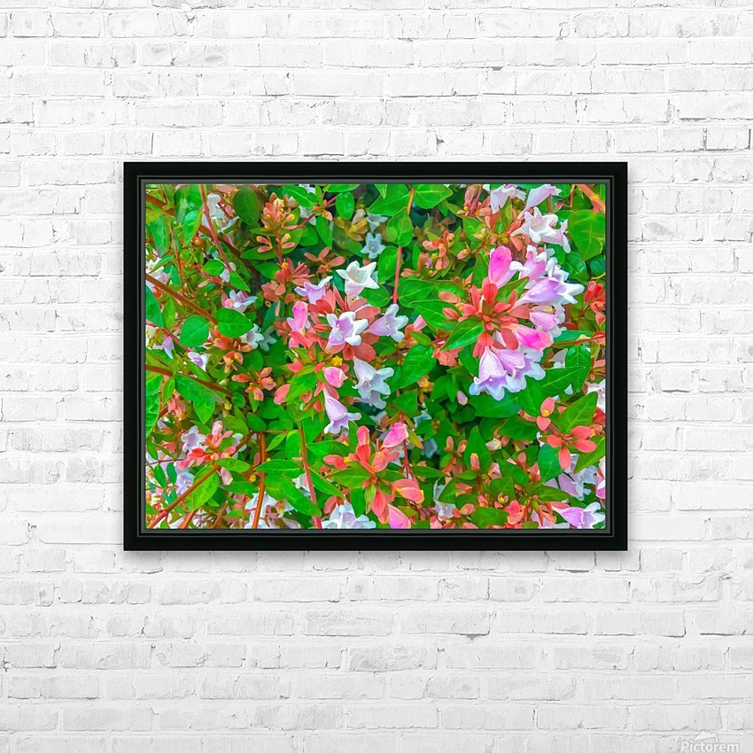 closeup blooming pink flowers with green leaves HD Sublimation Metal print with Decorating Float Frame (BOX)