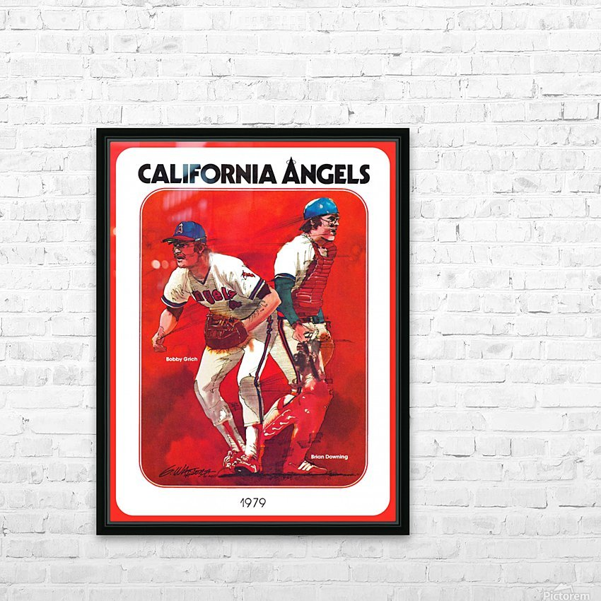 retro california angels poster baseball art row one (1) HD Sublimation Metal print with Decorating Float Frame (BOX)