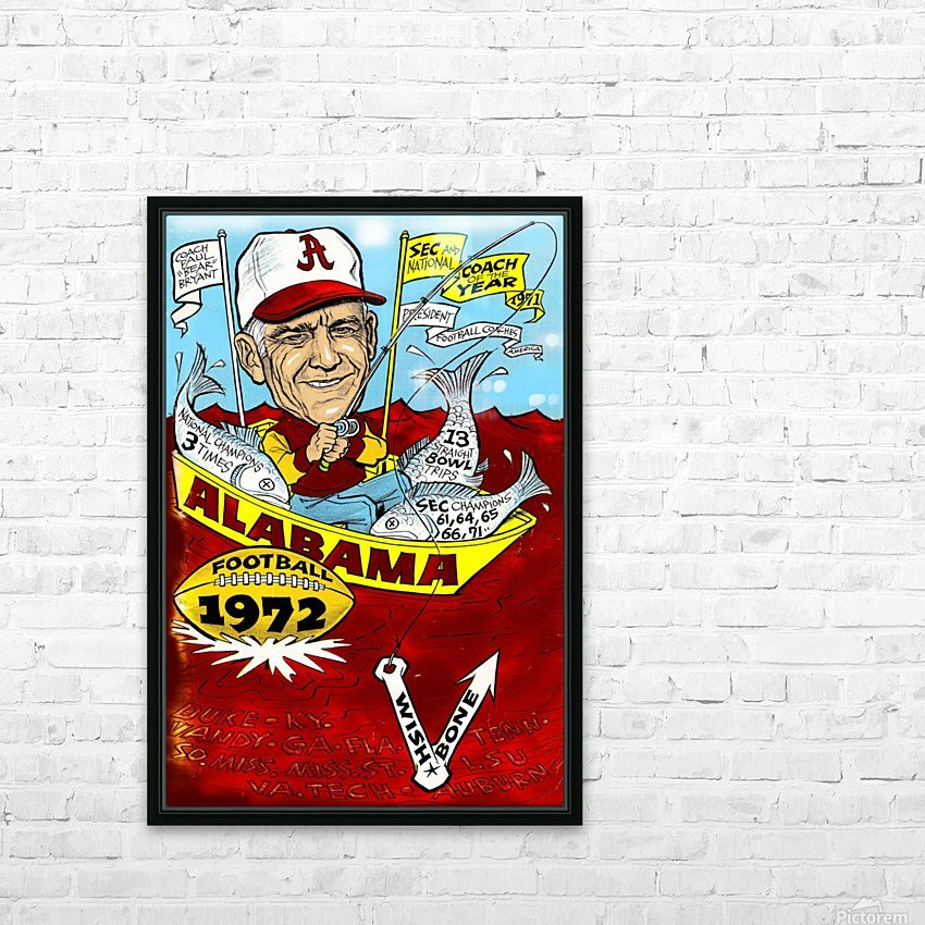 1972 alabama football HD Sublimation Metal print with Decorating Float Frame (BOX)