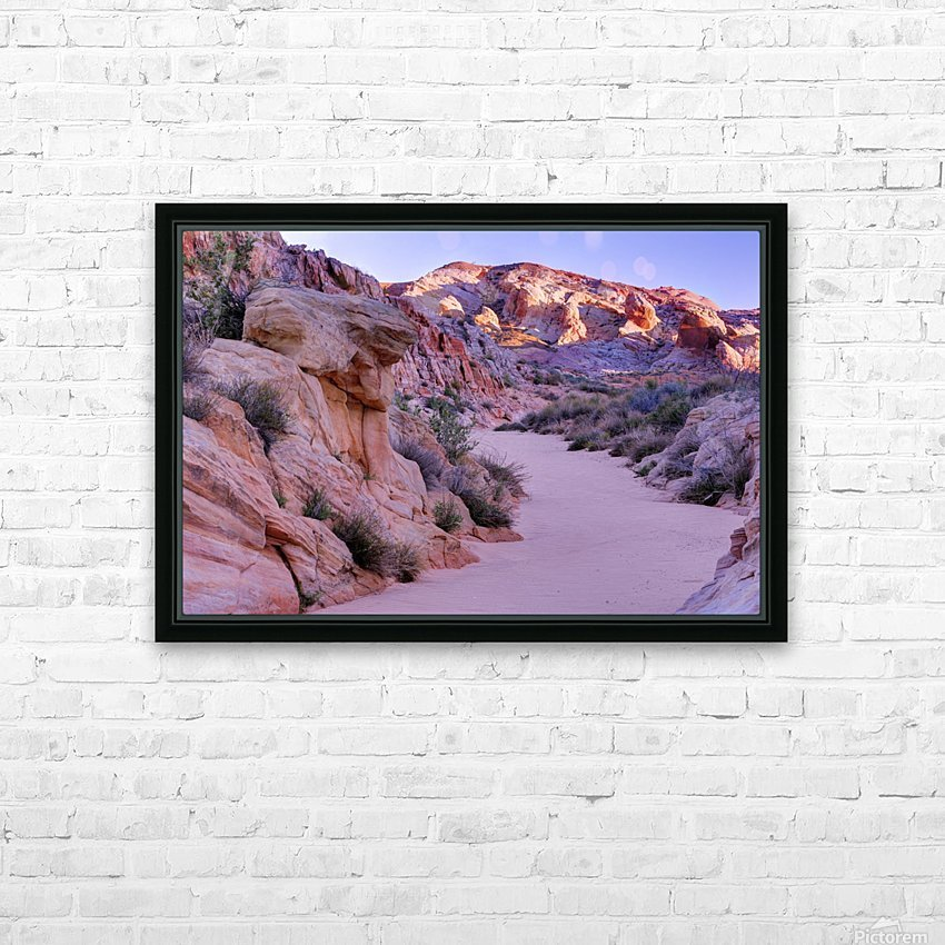 Sunrise over Valley of Fire Wash - Nevada HD Sublimation Metal print with Decorating Float Frame (BOX)