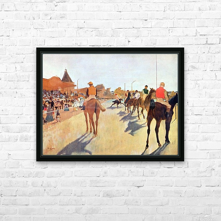 Jockeys in front of the grandstand by Degas HD Sublimation Metal print with Decorating Float Frame (BOX)
