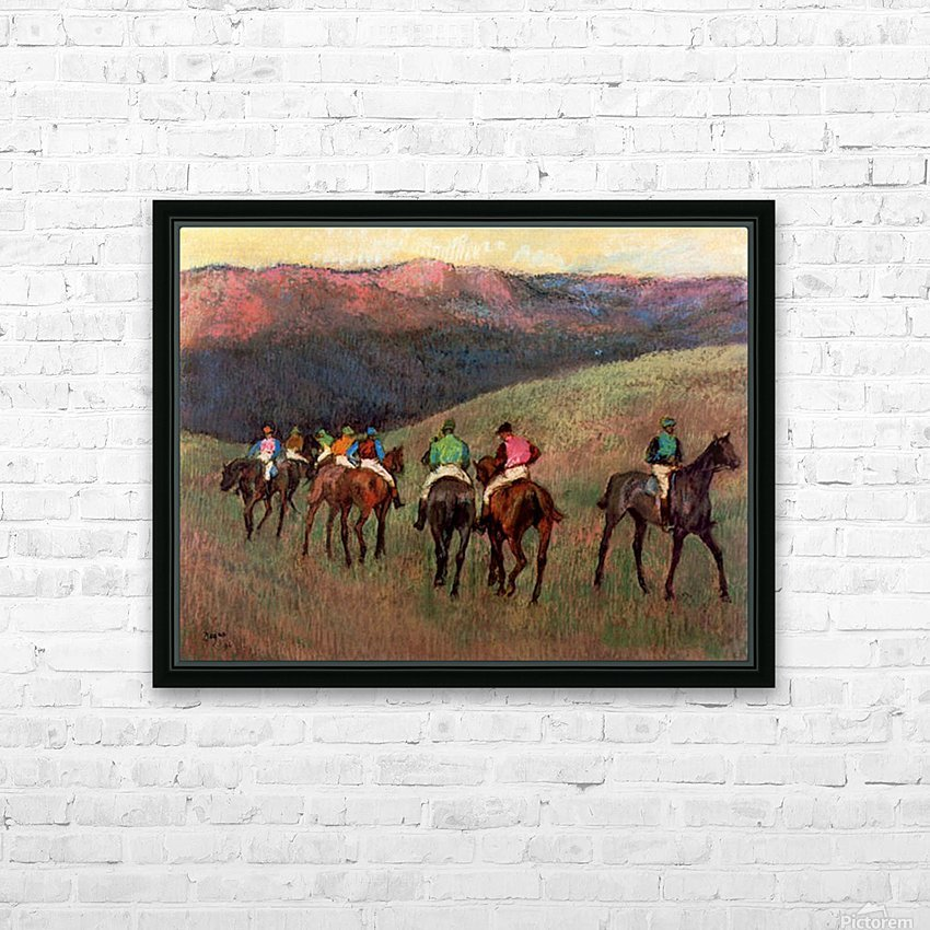 Jockeys in Training by Degas HD Sublimation Metal print with Decorating Float Frame (BOX)