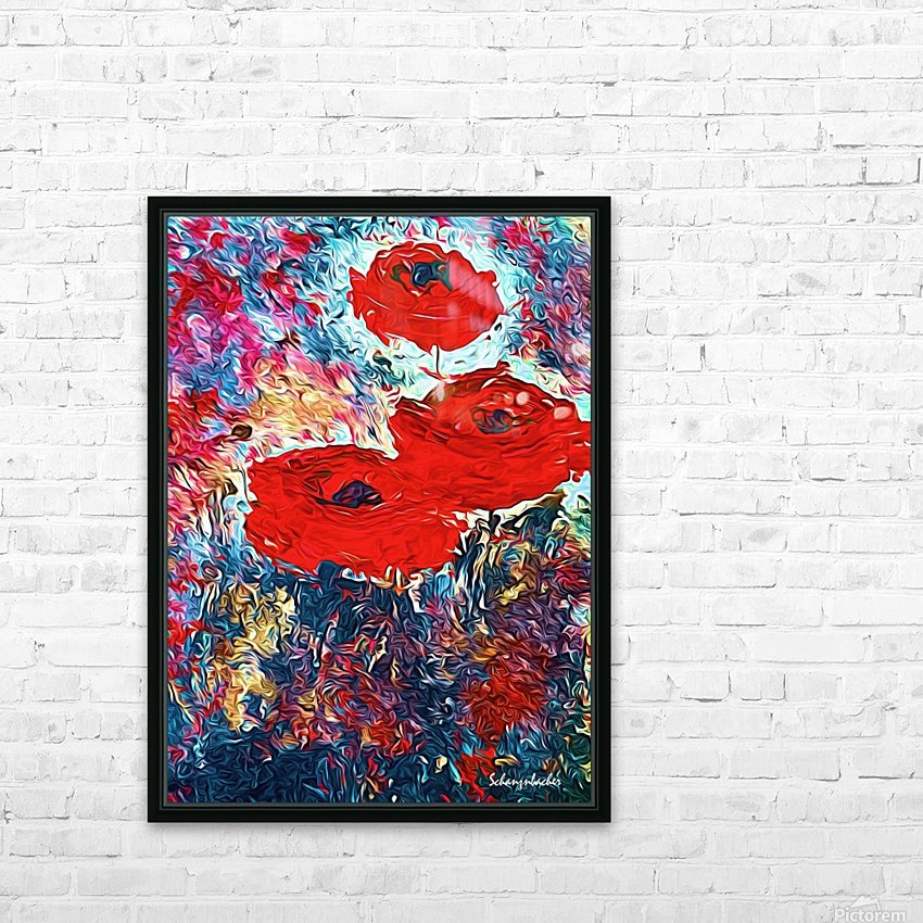 Poppies HD Sublimation Metal print with Decorating Float Frame (BOX)